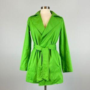 Zara Basic Green Belted Short Wrap Trench Coat S